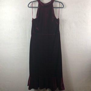 Dresses & Skirts - High neck dress strappy back velvet burgundy XL